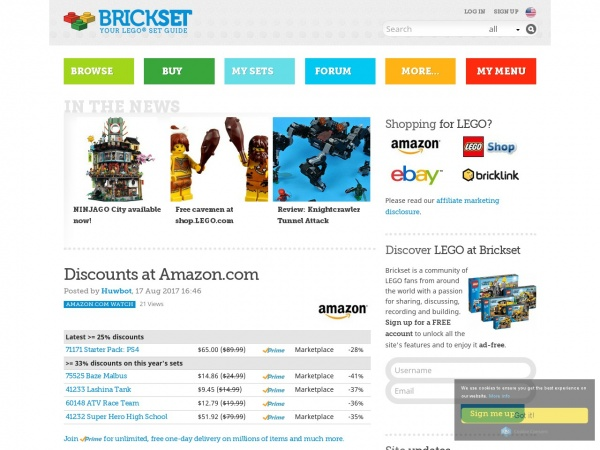 screenshot of brickset.com